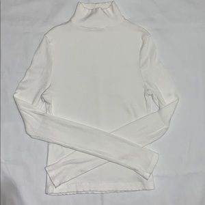 Women's - TopShop White Ribbed Turtleneck